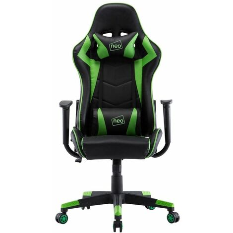Neo Green Adjustable Racing Gaming Office Swivel Recliner Leather Chair