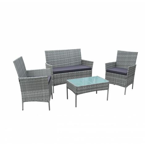 Neo Grey 4 Piece Rattan Outdoor Furniture Garden Sofa Set