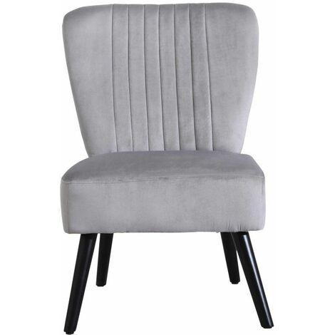 Neo Grey Crushed Velvet Shell Accent Chair