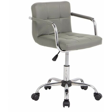 Neo Grey Cushioned Faux Leather Office Chair with Chrome Legs