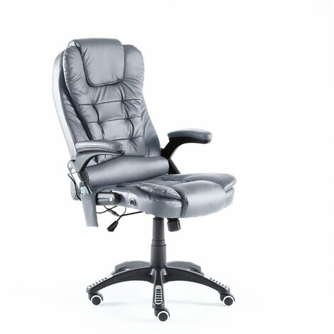Neo Grey Faux Leather Executive Recliner Swivel Office Chair - With Massage Function