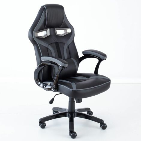 Neo Grey PU Leather Racing Car and Gaming Office Chair