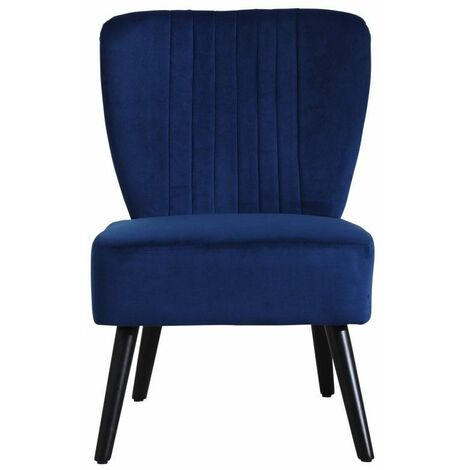 Neo Midnight Blue Crushed Velvet Shell Accent Chair