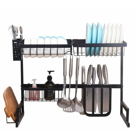 Neo Over Sink Kitchen Shelf Organiser Dish Drainer Drying Rack Utensils Holder 65cm
