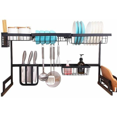 Neo Over Sink Kitchen Shelf Organiser Dish Drainer Drying Rack Utensils Holder 85cm