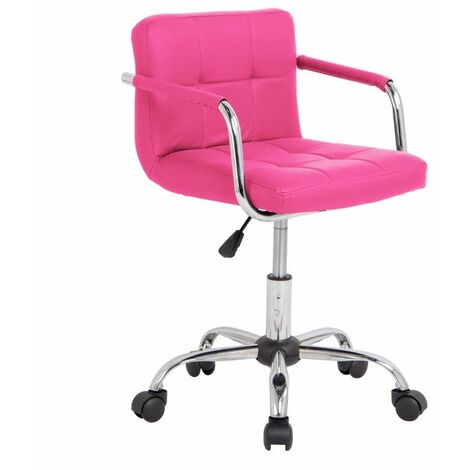 Neo Pink Cushioned Faux Leather Office Chair with Chrome Legs