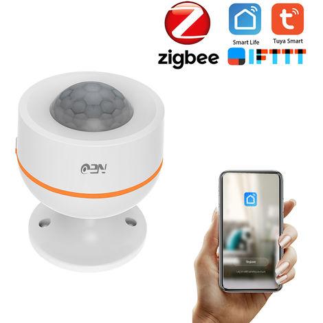 NEO Tuya Powered ZigBee sensor de movimiento PIR incorporado de humedad relativa y temperatura Wireless Sensor infrarrojo pasivo del detector de ladron de la seguridad del sensor de alarma Tuya / Smartlife APP trabajo de control con Centro de Acceso, Blan