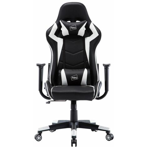 Neo White Adjustable Racing Gaming Office Swivel Recliner Leather Chair