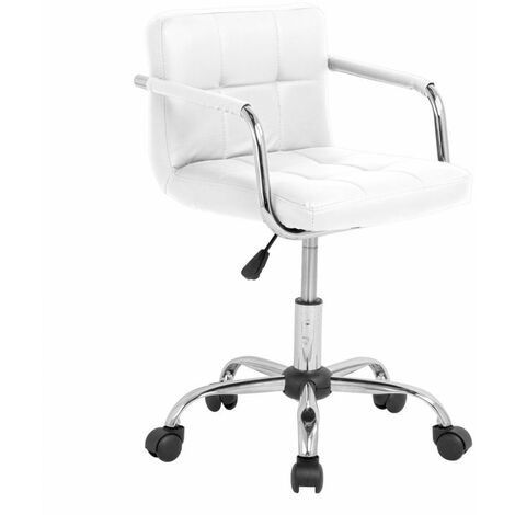Neo White Cushioned Faux Leather Office Chair with Chrome Legs