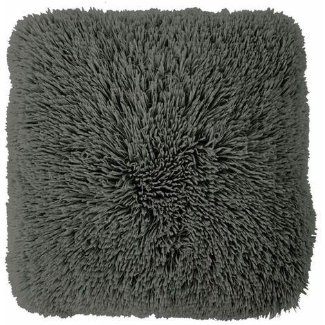 NEO YOGA - Coussin à poils longs extra-doux gris foncé 60x60