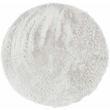 NEO YOGA - <p>Tapis rond à poils longs extra-doux blanc diam.90</p> - Blanc