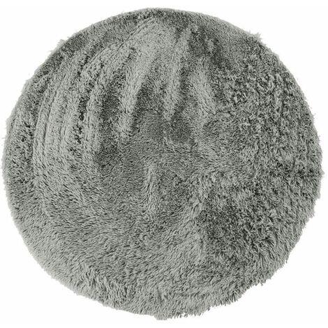 NEO YOGA - <p>Tapis rond à poils longs extra-doux gris clair diam.90</p> - Gris