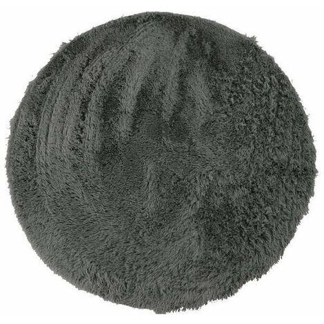 NEO YOGA Tapis de salon ou chambre - Microfibre extra doux - Ø 160 cm - Gris foncé