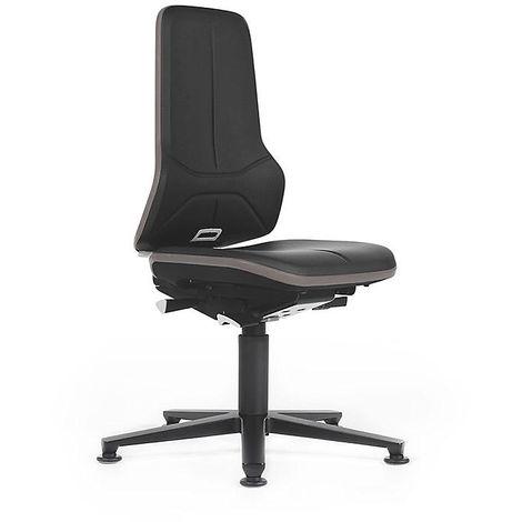 NEON Arbeitsdrehstuhl, mit Gleitern, Sitzmaterial Kunstleder, ESD, Flexband grau -