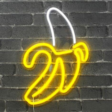 Neon Banane 47 cm - Prise et Interrupteur On/Off inclus Neon LED pour Decoration Chambre Enfant ou Déco Neon Bar - Lampe Néon LED Banane sur Secteur avec interrupteur - Blanc