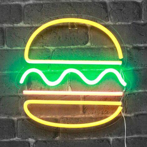 Néon Hamburger 30 cm - Prise et Interrupteur on/Off Inclus Neon LED pour Decoration Chambre Enfant ou Déco Néon - Lampe Murale Néon LED Hamburger sur Secteur avec Interrupteur - Jaune