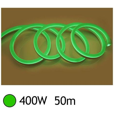 NEON LED FLEXIBLE 400W 230V Couleur VERT 50m 27/15 Gainage IP65 sécable