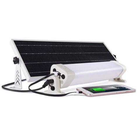Néon LED panneau solaire 1300 lumens 90 leds Autonomie 8h pour éclairer 25 à 35 m2