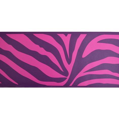 Neon Zebra Vinyl Wallpaper Border Pre Pasted Purple Pink Stripes Fine Decor