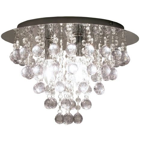 Neptune 3 Light Flush Ceiling Chandelier In Polished Chrome