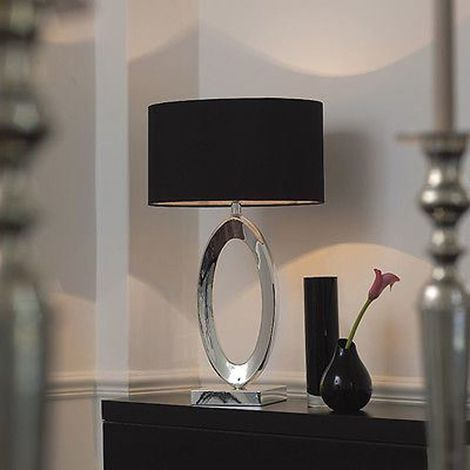 Nerine Oval Table Lamp Bright Silver Plate Black Silk Shade Square Base