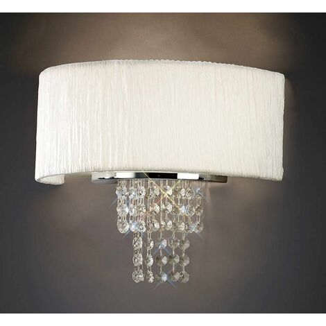 Nerissa wall light with white shade 2 lights polished chrome / crystal