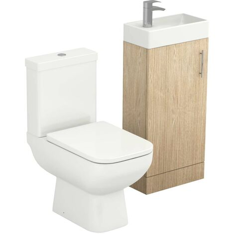Nero Oak 400mm Floor Standing Cloakroom Unit & Toilet Suite