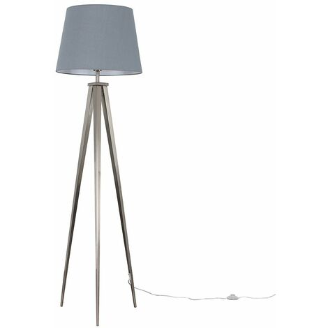 Nero Tripod Floor Lamp in Brushed chrome with Aspen Shade + 6W LED GLS Bulb - Grey - Silver