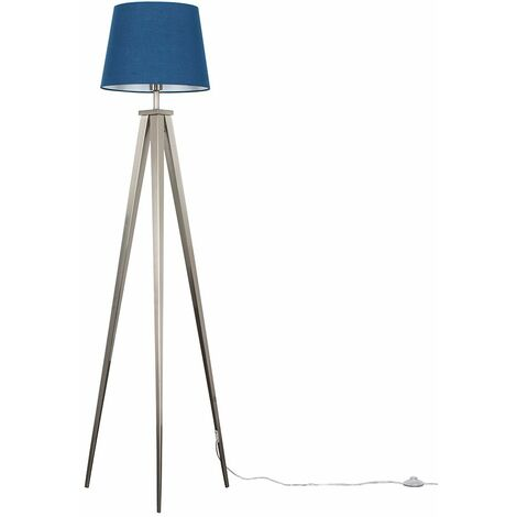 Nero Tripod Floor Lamp in Brushed chrome with Aspen Shade - Mustard - Silver