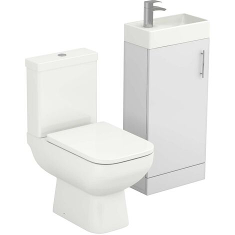 Nero White Gloss 400mm Floor Standing Cloakroom Unit & Toilet Suite