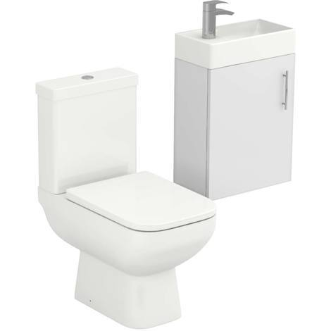 Nero White Gloss 400mm Wall Hung Cloakroom Unit & Toilet Suite