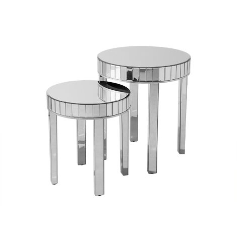 Nest of 2 Mirrored Side Tables Silver RIMARDE
