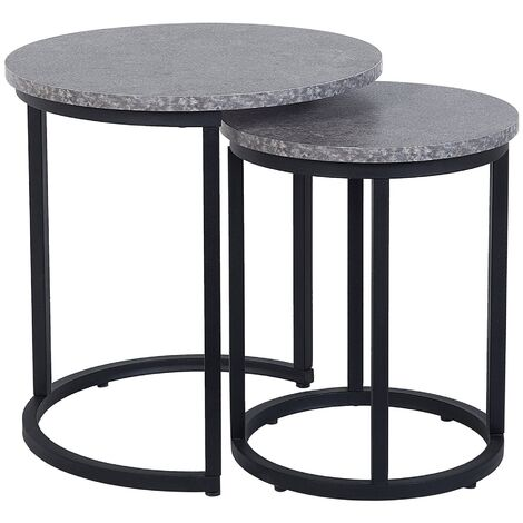 Nest of 2 Tables Concrete Effect DIXIE