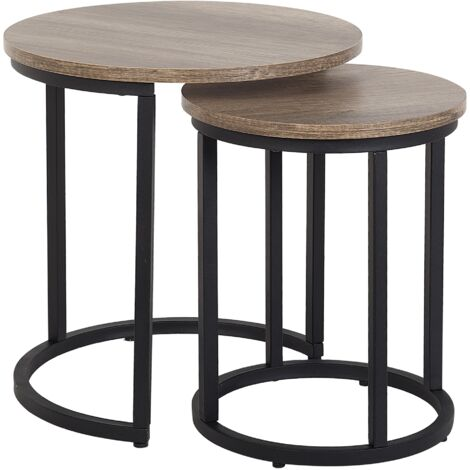 Nest of 2 Tables Dark Wood DIXIE