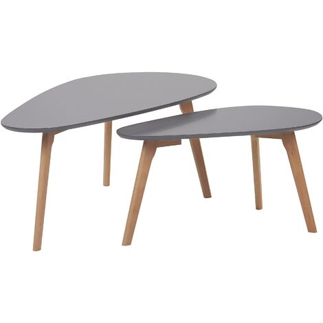Nest of 2 Tables Grey with Light Wood FLY III