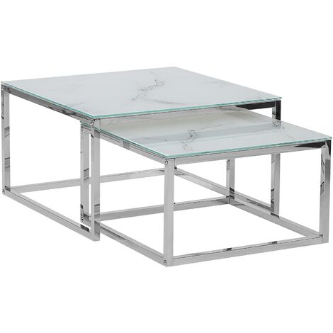 Nest of 2 Tables Marble Effect White with Silver BREA