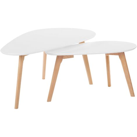 Nest of 2 Tables White with Light Wood FLY III