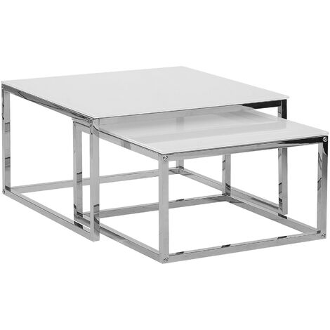 Nest of 2 Tables White with Silver BREA