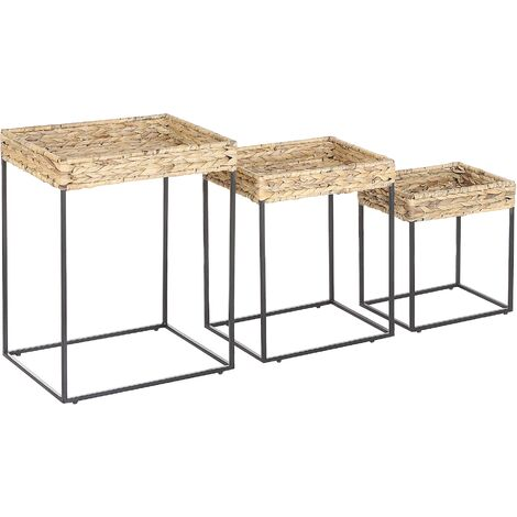 Nest of 3 Side Tables Light Wood with Black Iron Frame Natural Wicker Tops Hawi