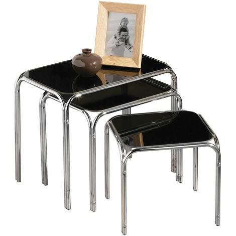 Nest of 3 tables, black glass, chrome finish legs
