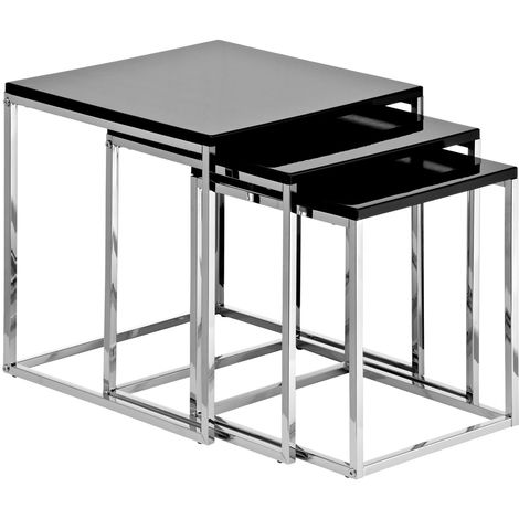 Nest of 3 tables, black high gloss, chrome finish frame