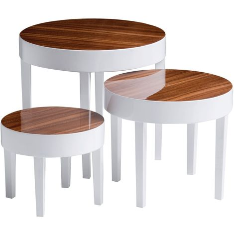 Nest of 3 tables, pear wood / white high gloss