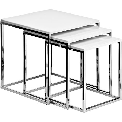 Nest of 3 tables, white high gloss, chrome finish frame