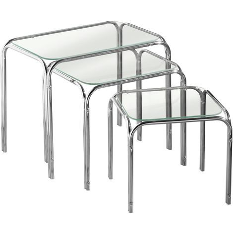 Nest of 3 Tables,Clear Glass,Chrome Finish Legs
