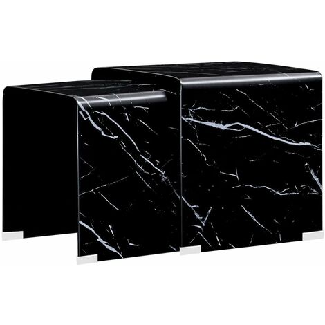 Nesting Coffee Tables 2 pcs Black Marble Effect 42x42x41.5 cm Tempered Glass