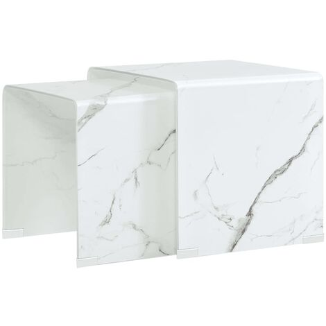 Nesting Coffee Tables 2 pcs White Marble Effect 42x42x41.5 cm Tempered Glass