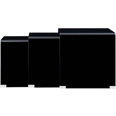 Nesting Coffee Tables 3 pcs Black 42x42x41.5 cm Tempered Glass