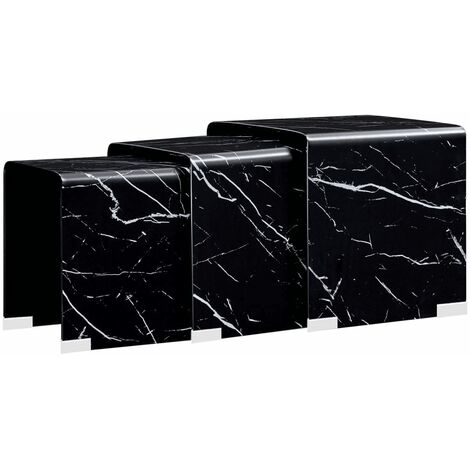 Nesting Coffee Tables 3 pcs Black Marble Effect 42x42x41.5 cm Tempered Glass