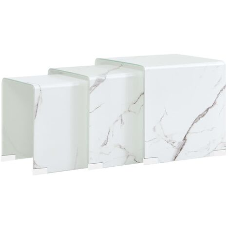 Nesting Coffee Tables 3 pcs White Marble Effect 42x42x41.5 cm Tempered Glass