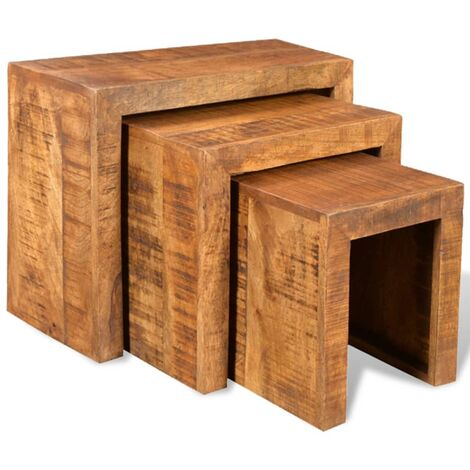 Nesting Table Set 3 Pieces Solid Mango Wood - Brown